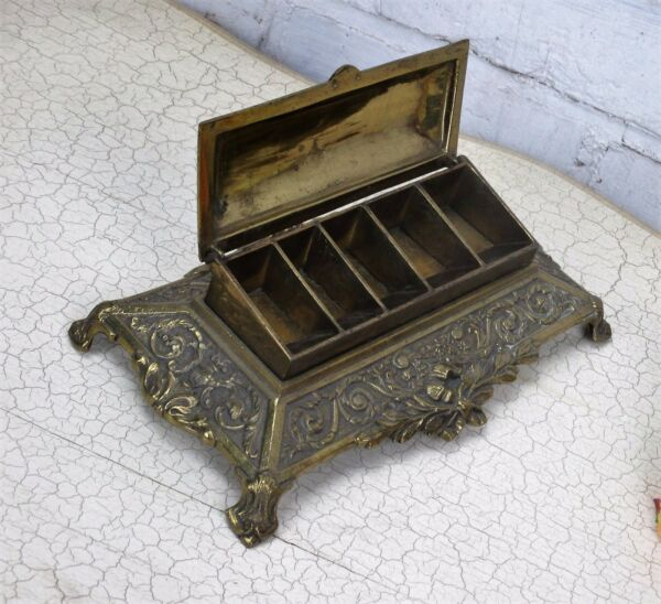 Ornate Brass Bronze Louis XV style stamp  Box Holder Antique French
