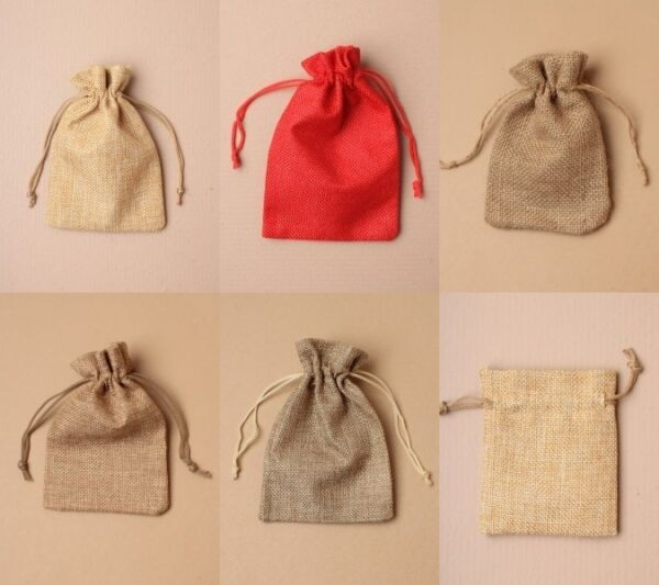 Jute Bag Cloth Drawstring Pouch Wholesale Bulk JewelleryGift Craft Natural Bags