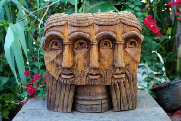 """Original Hand Carved Wood Folk Art Sculpture Signed by Artist Magana 20"""" by 22"""""""