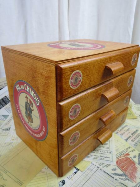Sajou French Vintage Style Wooden Haberdashery Chest of 4 Drawers Sewing Box