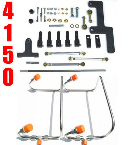 DUAL INLET 4150 MECH BLOWER FUEL LINES CLEAR COLOR KIT HOLLEY LINKAGE COMBO $329.99
