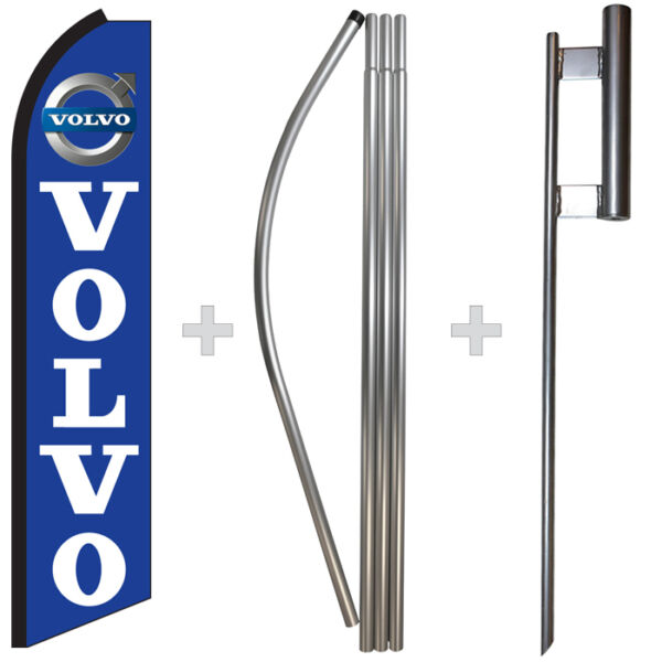 Volvo 15#x27; Tall Swooper Flag amp; Pole Kit Feather Super Bow Banner