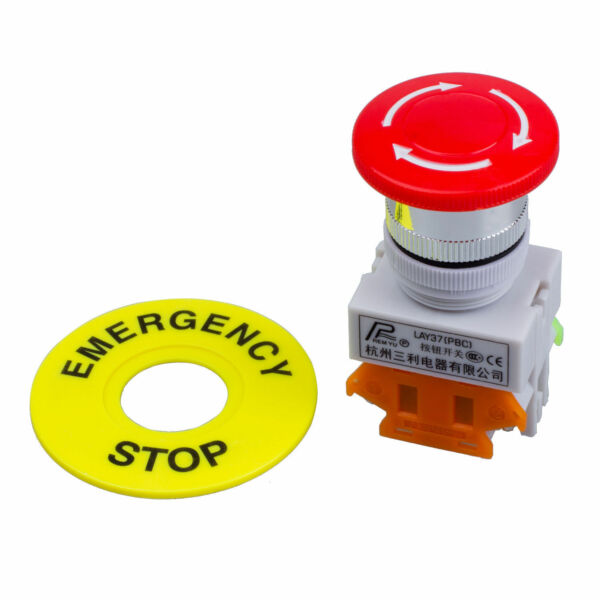 Red Mushroom Cap 1NO 1NC DPST Emergency Stop Push Button Switch AC 660V 10A AD