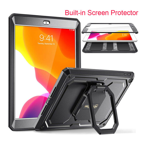 For iPad 8th Gen 10.2#x27;#x27; 2020 360 Rotating Case Built in Screen Protector
