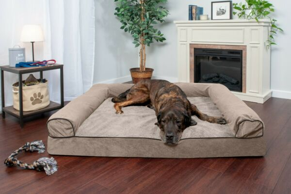 FurHaven Pet Cooling Orthopedic Memory Foam Chenille Soft Woven Sofa Dog Bed $29.99