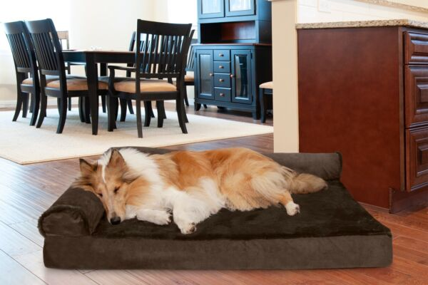 FurHaven Pet Cooling Orthopedic Memory Foam Plush amp; Velvet L Chaise Dog Bed $29.99