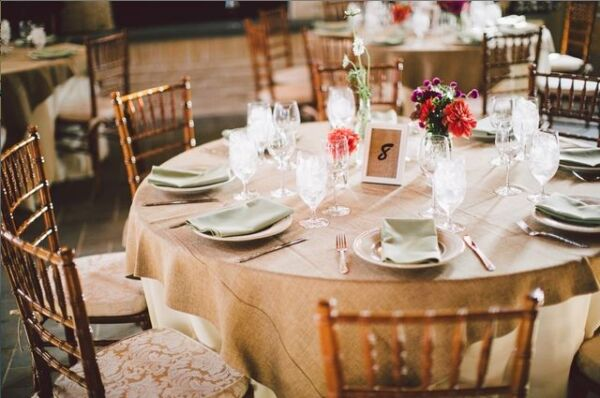 10x Burlap Overlay 54quot; × 54quot; 100% Natural Jute Tablecloths Table Covers Wedding