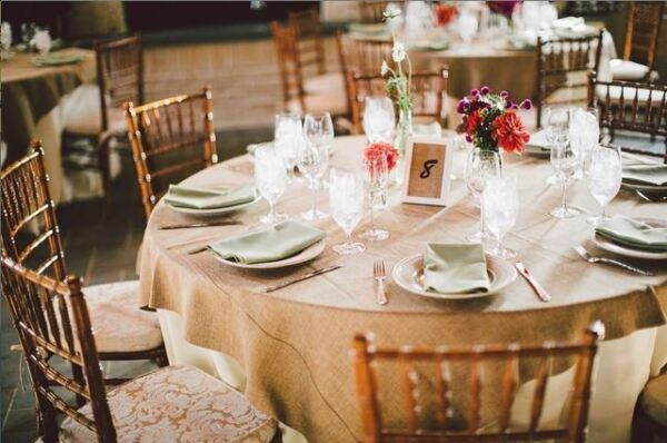 5 x Burlap Overlay 72quot; × 72quot; 100% Natural Jute Tablecloths Table Covers Wedding