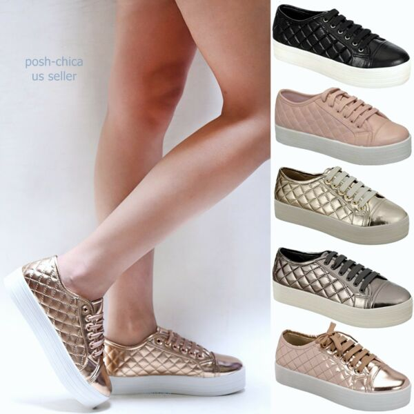 New Women OCy6 Black Rose Gold Blush Quilted Lace Up Platform Sneakers
