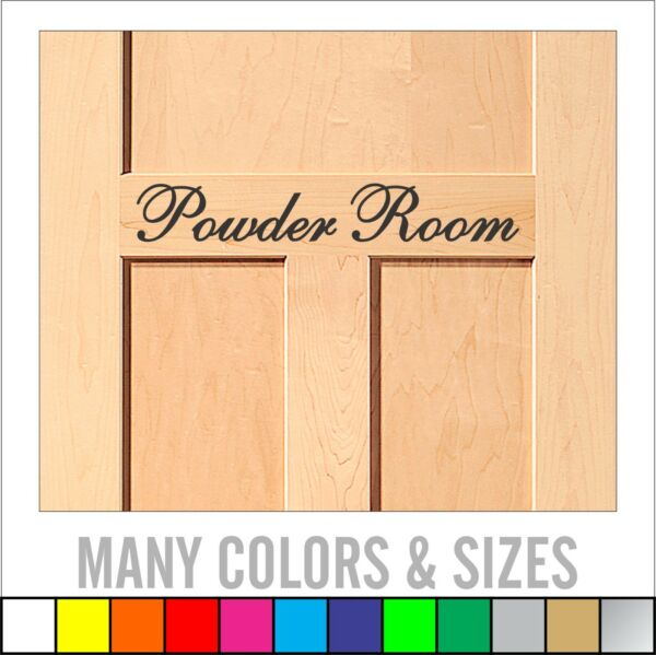 Powder Room bathroom vinyl wall decal sticker decor - Available in Multiple Size