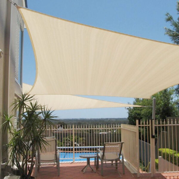 12x12x12 Beige Triangle Sun Shade Sail Fabric Canopy Patio Cover Garden Pergola