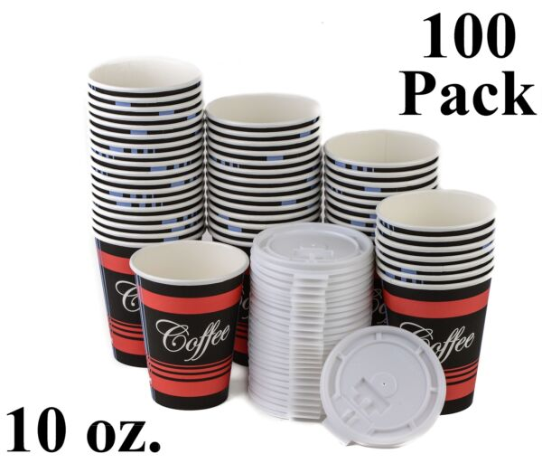 100 Ct. 10 Oz. Poly Paper Hot Tea Coffee Cups White Lids Eco Friendly Disposable
