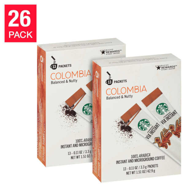 Starbucks VIA Instant Coffee Colombia 2x13 = 26-packs (2 boxes of 13 ea per box)