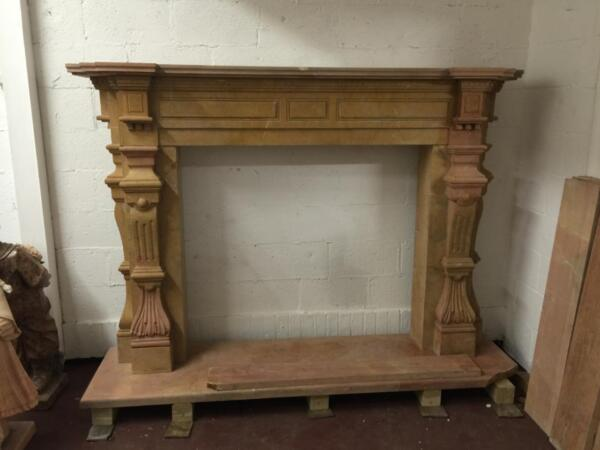 MONUMENTAL  HAND CARVED SOLID MARBLE FIGURAL FIREPLACE MANTEL  - JD1004