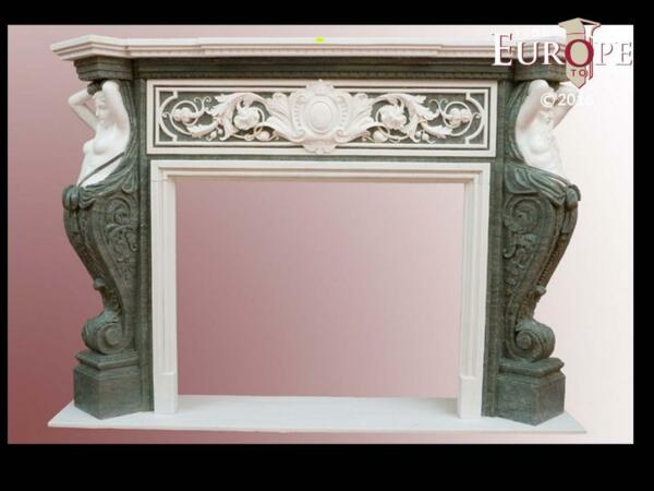 BEAUTIFUL HAND CARVED VICTORIAN STYLE SOLID MARBLE FIREPLACE MANTEL - LST6