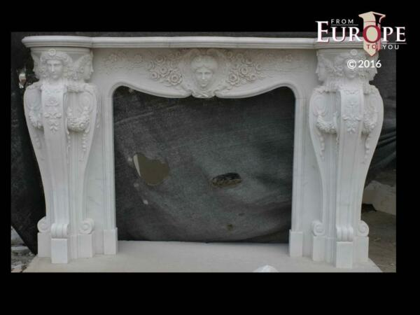 BEAUTIFUL HAND CARVED VICTORIAN STYLE SOLID MARBLE FIREPLACE MANTEL - LST35