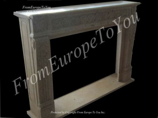 HAND CARVED SOLID MARBLE CLASSICAL FIREPLACE MANTEL MBY211