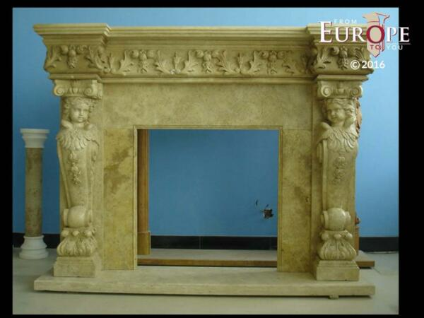 BEAUTIFUL HAND CARVED VICTORIAN STYLE SOLID MARBLE FIREPLACE MANTEL - LST57