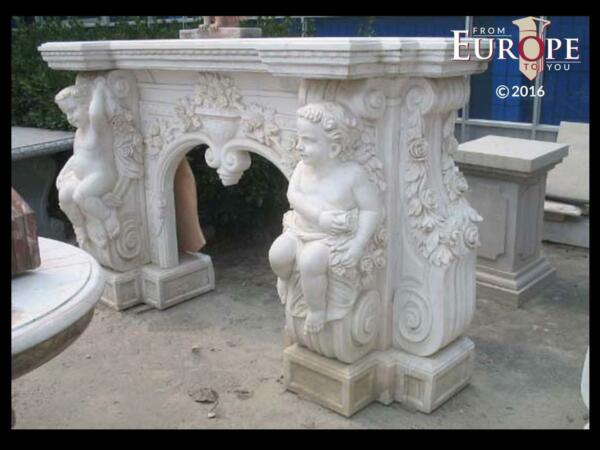 BEAUTIFUL HAND CARVED VICTORIAN STYLE SOLID MARBLE FIREPLACE MANTEL - LST42
