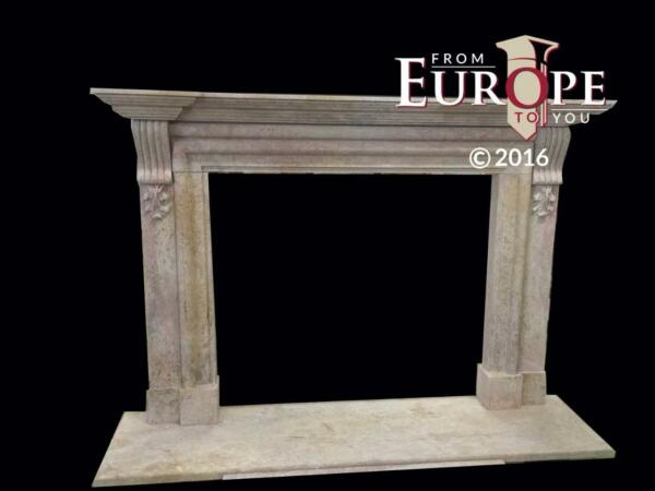BEAUTIFUL LARGE HAND CARVED MARBLE ESTATE FIREPLACE MANTEL - JD604