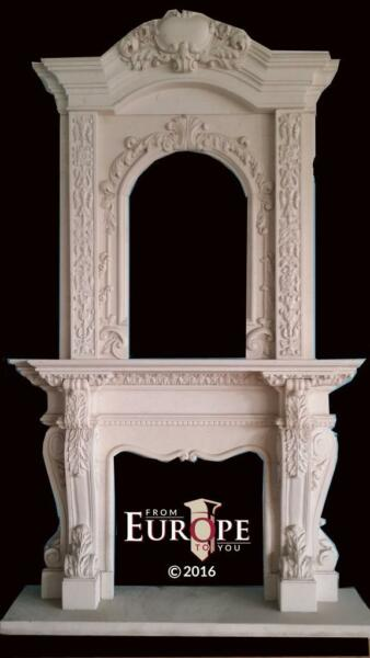 BEAUTIFUL HAND CARVED MARBLE MONUMENTAL FIREPLACE MANTEL - CMFP56