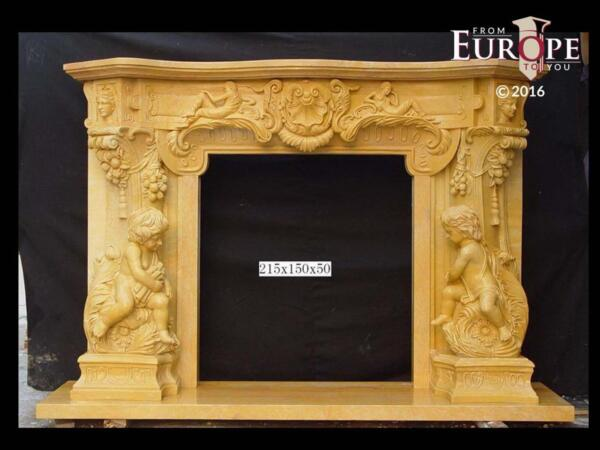 BEAUTIFUL HAND CARVED VICTORIAN STYLE SOLID MARBLE FIREPLACE MANTEL - LST3
