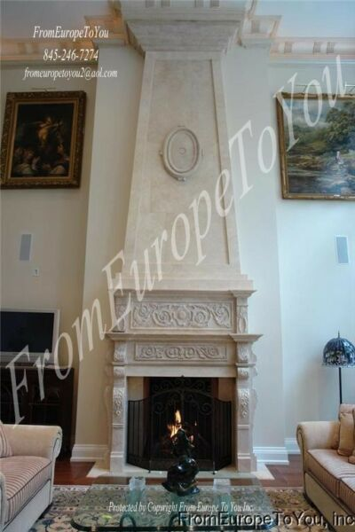 HAND CARVED MARBLE LARGE 14' FIREPLACE MANTEL FPM145