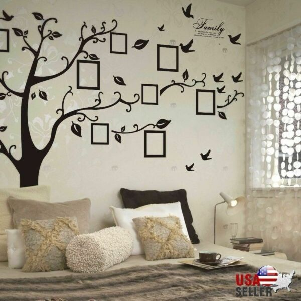 Family Tree Wall Decal Sticker Removable Vinyl Photo Pictures Frame Black Tree