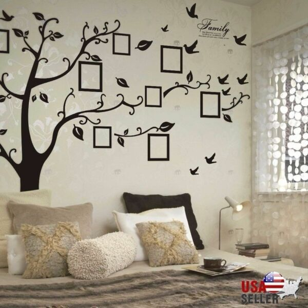 Large Family Tree Wall Decal Sticker Removable Vinyl Photo Pictures Frame Black $10.28