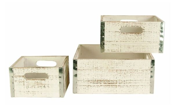 Decorative Boxes For Storage Wooden Crates For Sale Distressed Rustic Bins White