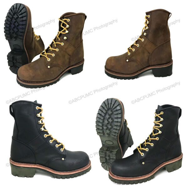 Brand New Men#x27;s Logger Boots Leather Good Year Welt Rugged Work Motorcycle Biker
