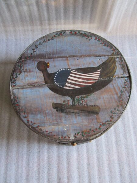RARE Antique 19th c.American Patriotic Painting Style Large Pantry Box Original!