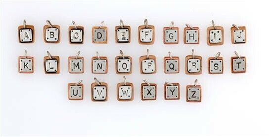 Far Fetched Sterling Silver & Copper Alphabet Letter Charms Choice of Letter