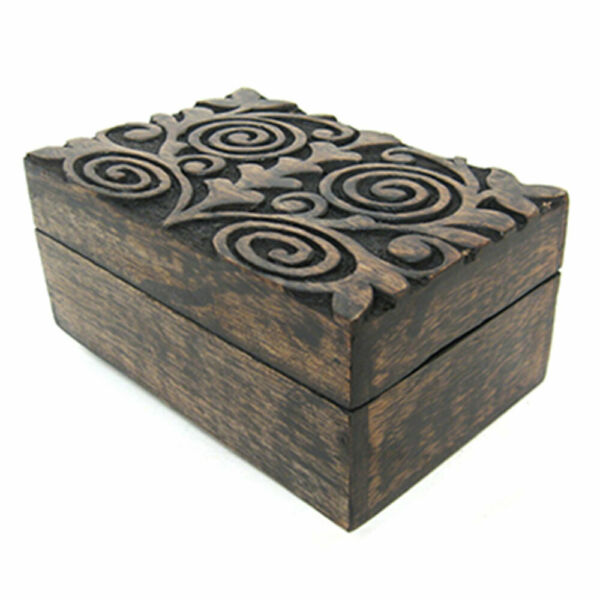NEW Mystic Spirals Carved Wood Box 4x6quot; Wooden Chest for Mini Tarot or Trinkets