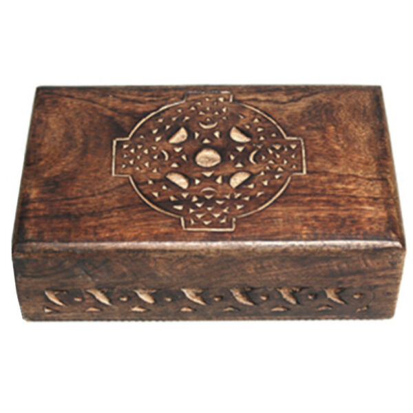 NEW Celtic Cross Carved Wood Box 4x6quot; Wooden Chest Tarot Herbs or Trinkets