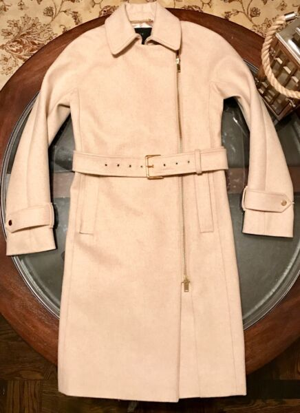 J.Crew Women's Sz 2 Luxury Coat Wool Belted Side Zipper Sand Color New With Tags