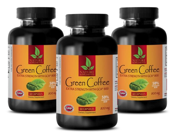 Green Coffee Bean Powder 800mg - Green Coffee Extract GCA - Fat Burner 180 Pills