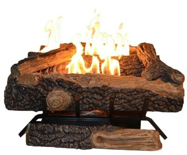 24 in. Large Natural Gas Fireplace Logs Vent Free Golden Flame Fire Grate Log