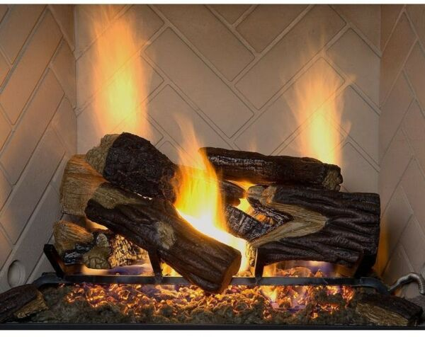 18 in. Natural Gas Vented Fireplace Log Set Dual Burner Realistic flames Logs