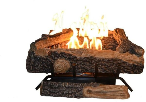 24 in. Ventless Propane Gas Fireplace Log Set Easy Manual Control Logs Insert