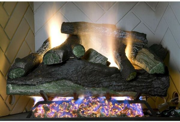 18 in Vented Natural Gas Fireplace Log Set Decorative Realistic Fire Logs Insert