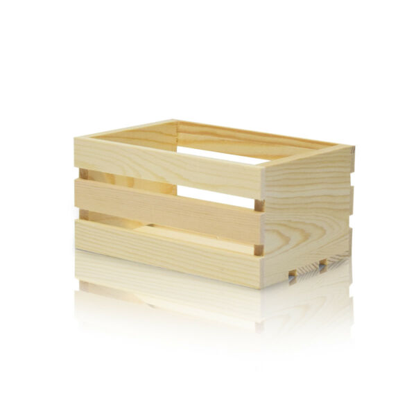 Mini Wood Crate 5-Inch Natural Wooden Crate for Decor Storage DIY Gift 5x3.3x2.4