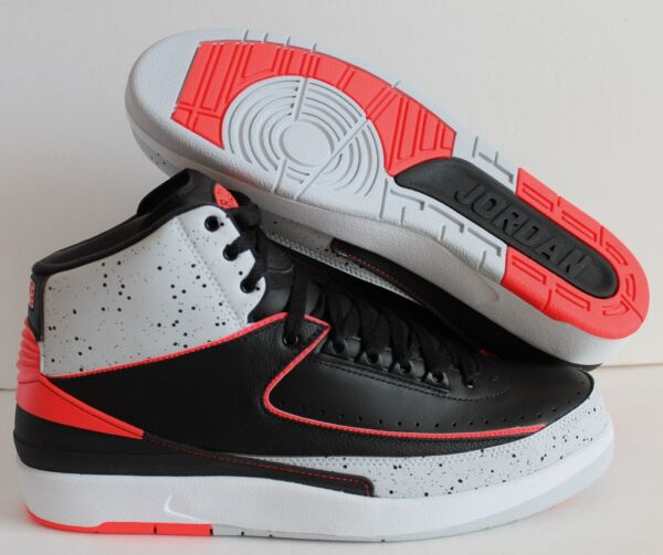NIKE AIR JORDAN 2 RETRO BLACK-INFRARED 23 SZ 9 [385475-023]