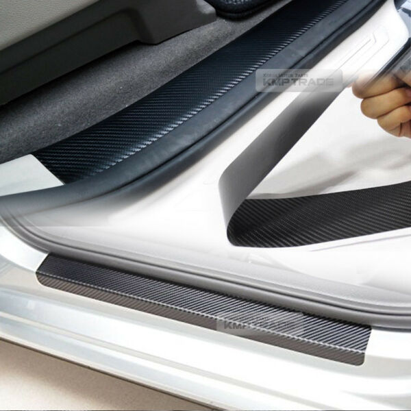 Car Accessories Door Sill Scuff Protector Carbon Fiber Sticker 4Pcs For Vehicle