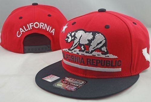 CALIFORNIA REPUBLIC EMBROIDERED FLAT BILL SNAP-BACK CAP  REGISTER Q