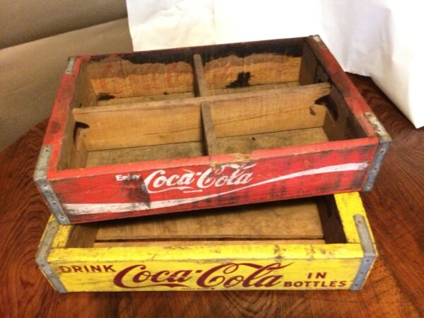 Lot of 2 Vintage Coca Cola Wooden Soda Crates