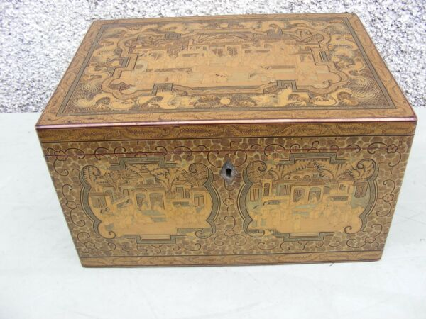 ANTIQUE CHINESE LACQUER  TEA CADDY