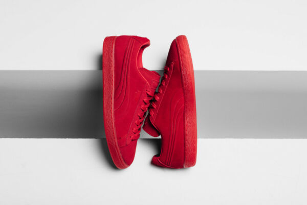 Puma Suede Emboss Iced Flou High Risk Red Retro Classic Casual Shoes 361664-03