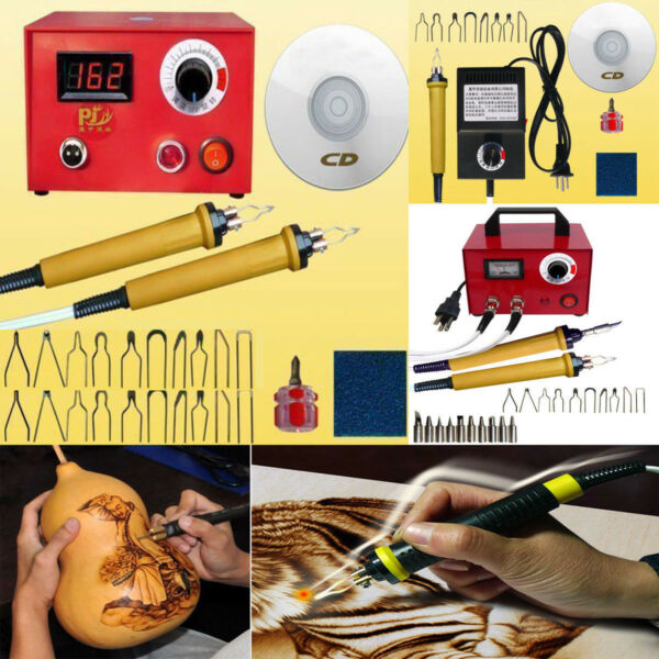 2550100W Multifunction Wood Burning Tool Machine Set+2 Pyrography Pen Kit Tips