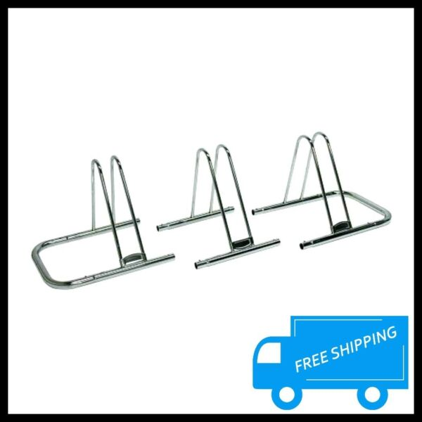 3 Bike Parking Stand Floor Rack Chrome Steel Home Garage Bicycle Holder Storage $67.47